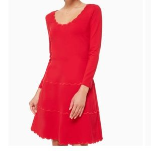 Kate Spade | Scallop Ponte Red Fitted Dress